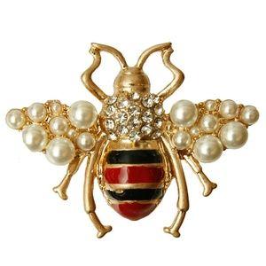 Jewelry - Rhinestone Bee Striped Brooch